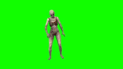 walking dead zombie girl walks green screen