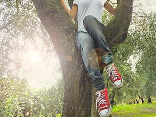 Ragazza su un albero