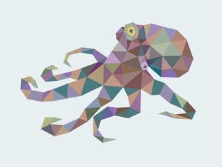 Octopus animal triangle low polygon style