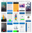 Smartphone UI flat style complete designer layout kit