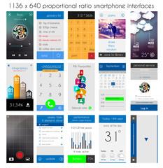 Smartphone UI flat style complete designer layout kit