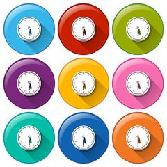 Round icons with clocks