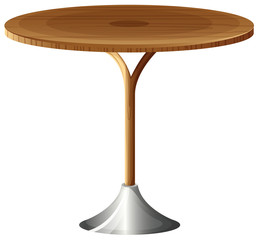 A wooden round table