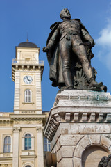 General Klapka statue and Komarno city hall