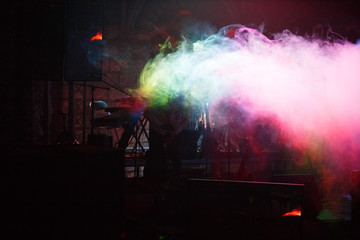 Colorful fog on stage