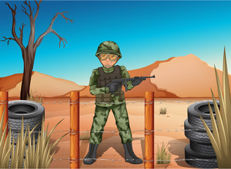 A soldier holding a gun