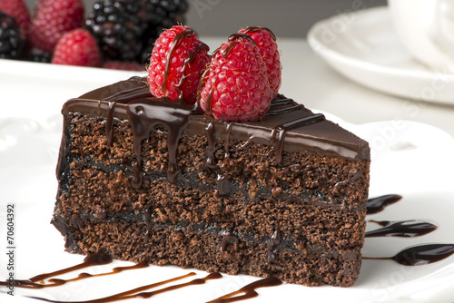 Spoed canvasdoek 2cm dik Dessert Slice of sachertorte with berries and chocolate sauce