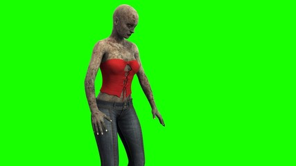walking dead zombie girl reacts to the environment green screen