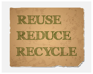 Reuse-Reduce-Recycle text on  grunge recycled paper