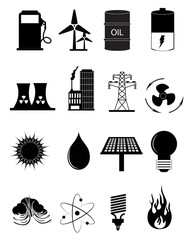 Power and energy icons set