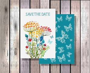 Save the date invitation template illustration