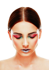 Attractive woman with closed eyes and colorful makeup