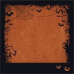 Orange Halloween grunge frame