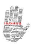 Hand with Stop Corruption text in indonesia languange poster