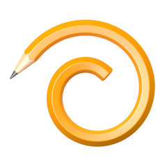 pencil in spiral form on a white background