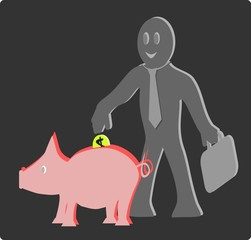 Hombre de negocios introduciendo moneda en un chancho