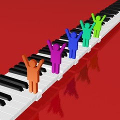 Klaviatur und Musiker, Team, Orchester