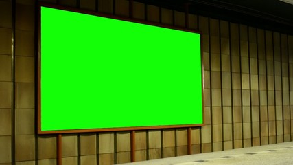 billboard - green screen in subway (metro) - nobody