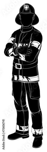 Firefighter or fireman silhouette - 70606741