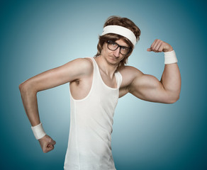 Funny retro nerd with one huge arm flexing his muscle