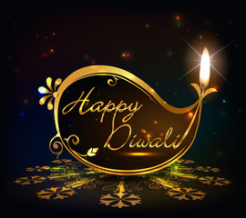 Diwali graphic design, diya on Diwali golden background