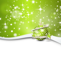 christmas background snow stars green