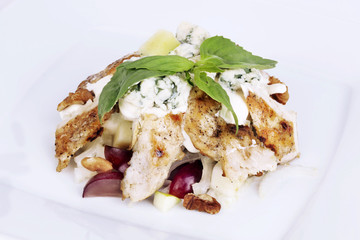 chicken salad with cheese and grapes