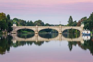 Turin (Torino), river Po and Bridge Umberto I