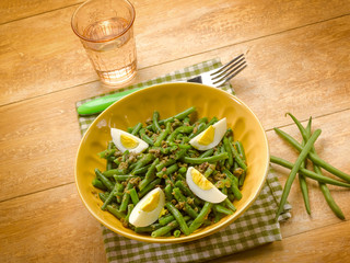 green beans salad with boiled eggs and capers