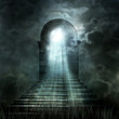 Leinwanddruck Bild - Staircase leading to heaven or hell. Light at the End of the Tun