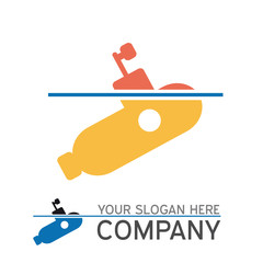 vector logo submarine surfaced
