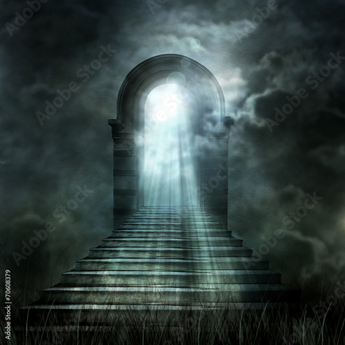 Foto op Canvas Temple Staircase leading to heaven or hell. Light at the End of the Tun