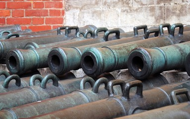 Old cannons in Moscow Kremlin. UNESCO Heritage Site.