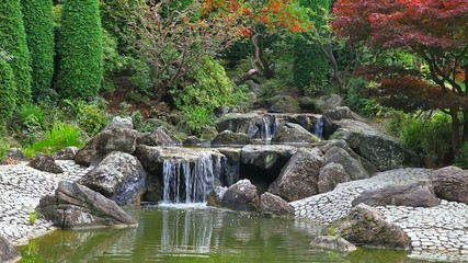Timelapse video of waterfall in Japanese garden