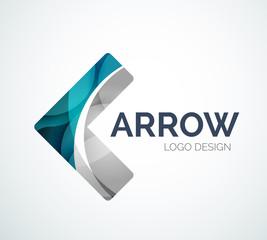 Arrow icon logo design made of color pieces