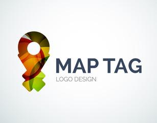 Map tag logo design made of color pieces