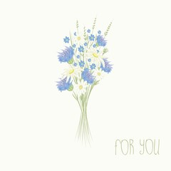 Bouquet from blue cornflowers and daisies a flower background