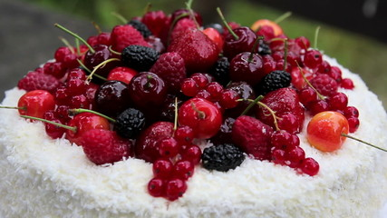 Fruit cake with coconut flakes with jelly berries.