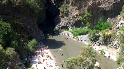 Crowd tourists in the Alcantara Gorge. Sicily