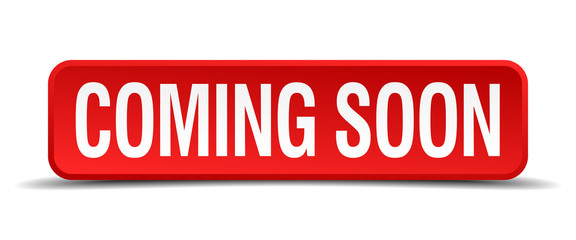 coming soon red square button isolated on white background