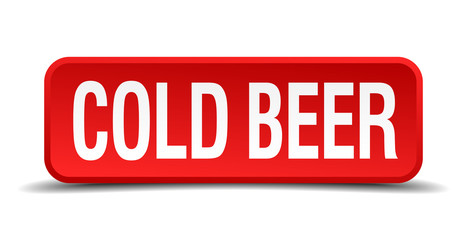 cold beer red square button isolated on white background