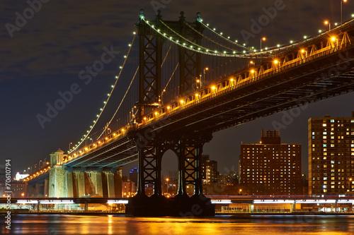 Manhattan Bridge and skyline view from Brooklyn at night