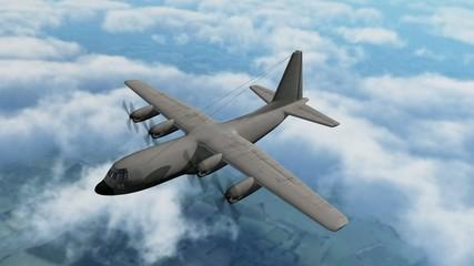 Aircraft Lockheed C130 Hercules in flight
