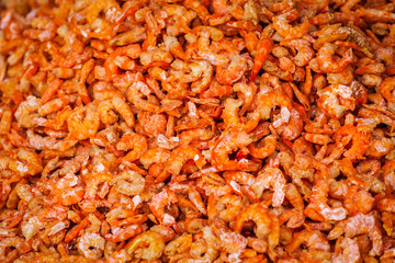 Dried shrimps close up