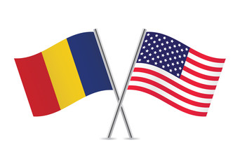 American and Romanian flags. Vector illustration.