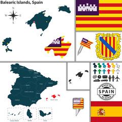 Map of Balearic Islands, Spain
