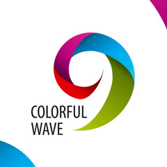 vector logo colorful wave of bands