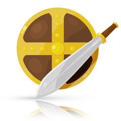 Shield and sword isolated on white background. Vector illustrati