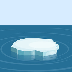 Floe in the sea. Winter. Vector illustration.