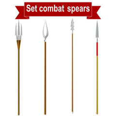 Set combat spears isolated on a white background. Vector illustr